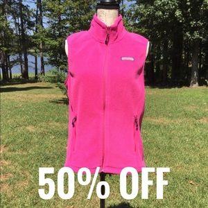Vineyard Vines Neon Pink Fleece Zip Up Vest Small